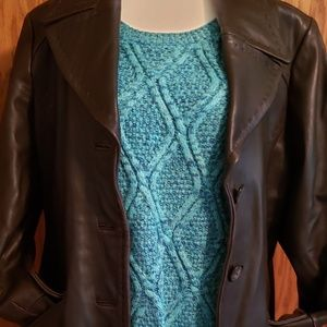 Anne Klein Lamb Leather Coat